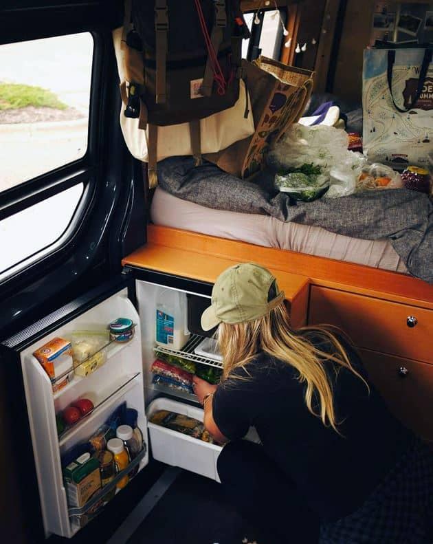 Mantenimiento de la comida viviendo en furgoneta
