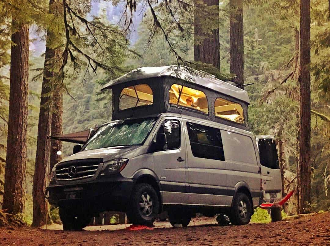 living in a poptop van