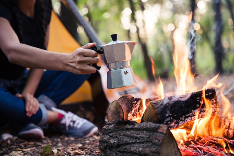 moka pot camping coffee